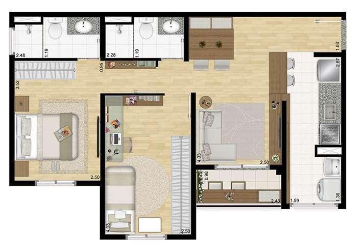 Planta 2 Dormitórios