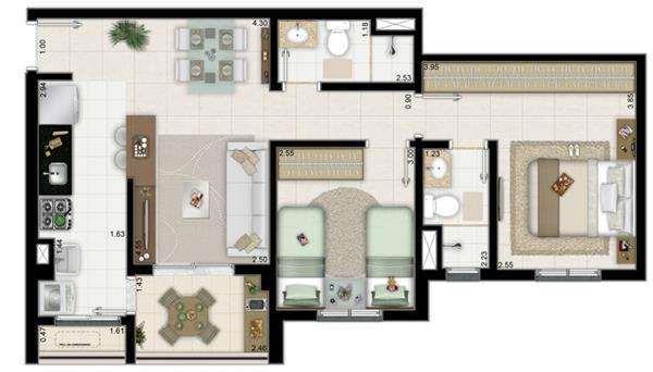 | 2 Dormitórios MEIO