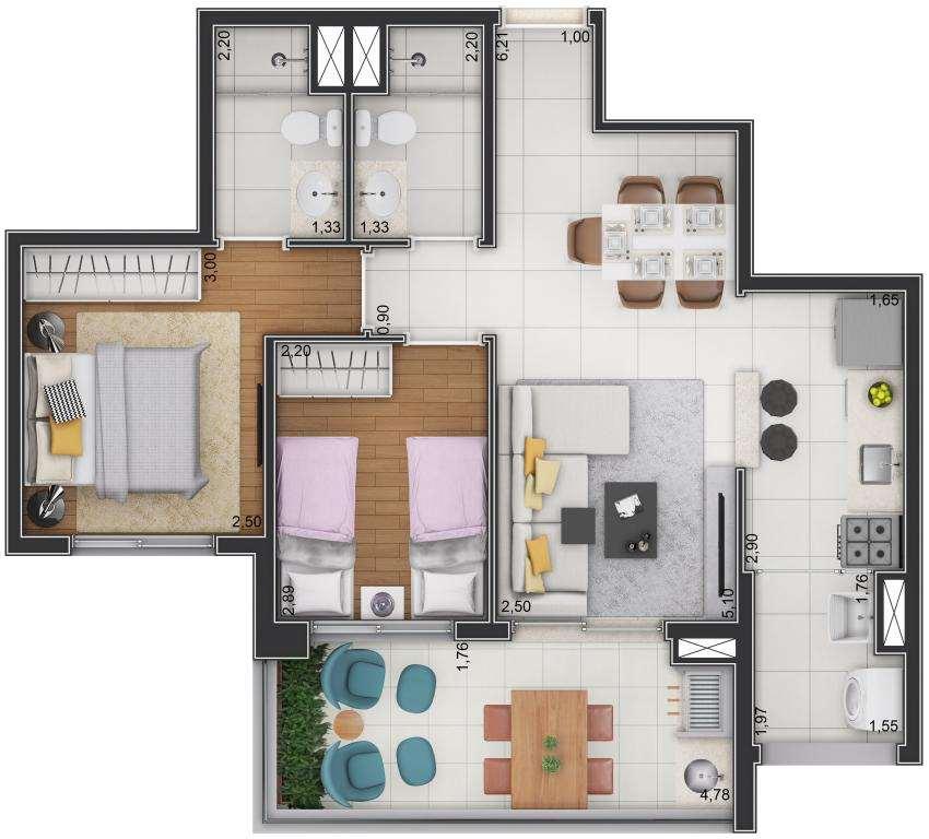 Planta Tipo - 2 Dormitórios