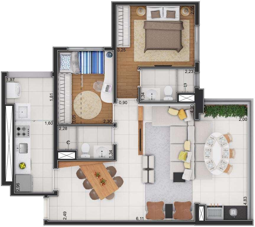 Planta Tipo - 3 Dormitórios Ampliado
