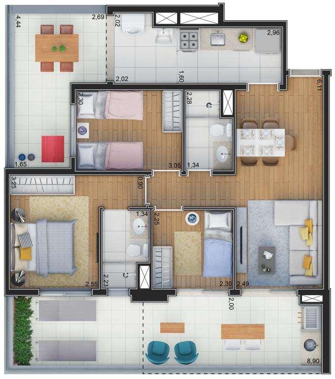 Planta Garden - 3 Dormitórios