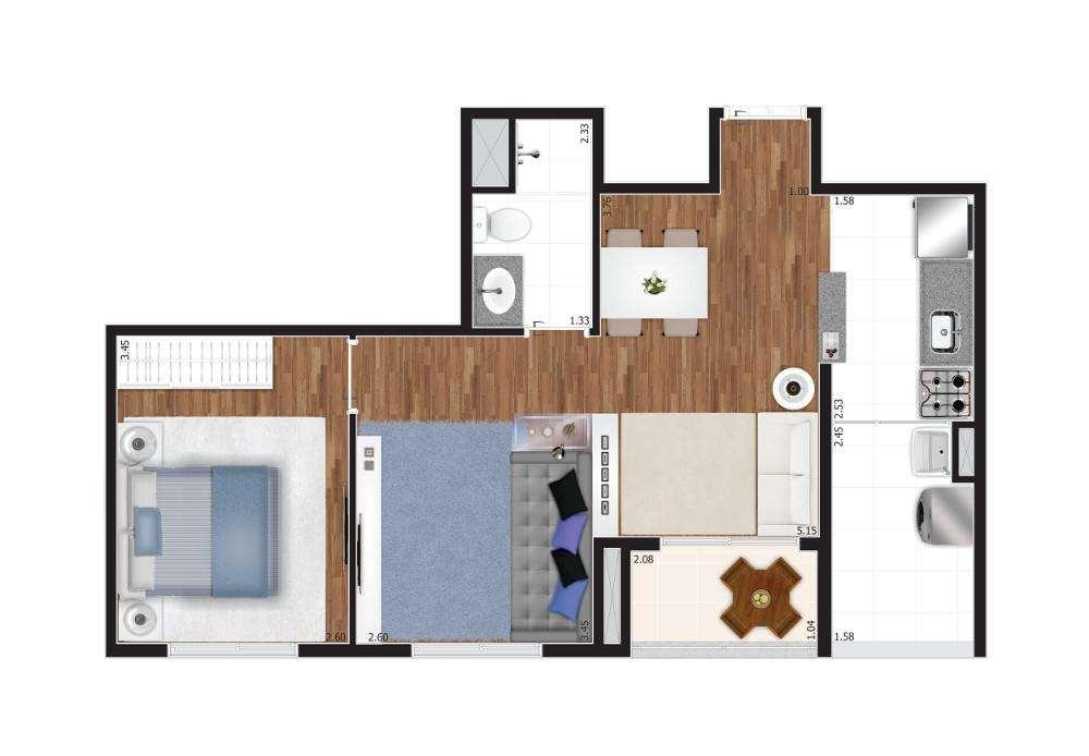 Planta 2 Dormitórios Ampliada