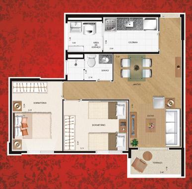 Cond. Residencial Algarve | Planta de 2 Dormitórios