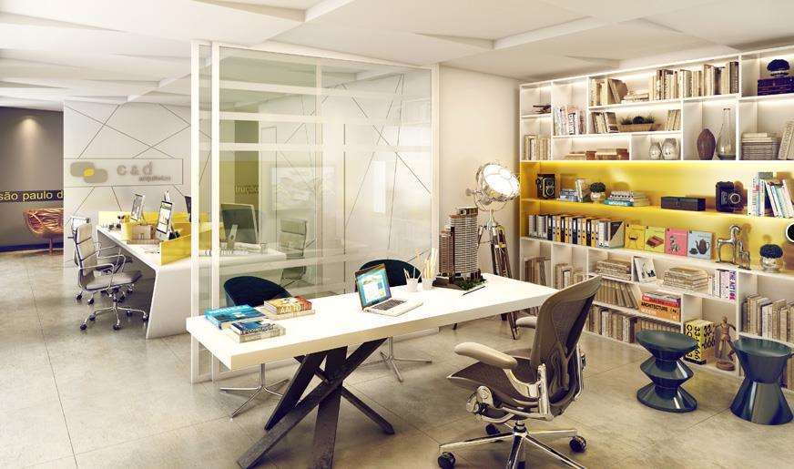 Square Tatuap� | Perspectiva Art�stica - Sala de Arquiteto