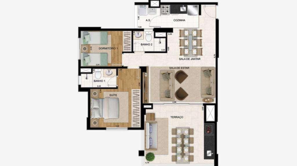 | 2 Dormitórios Ampliado