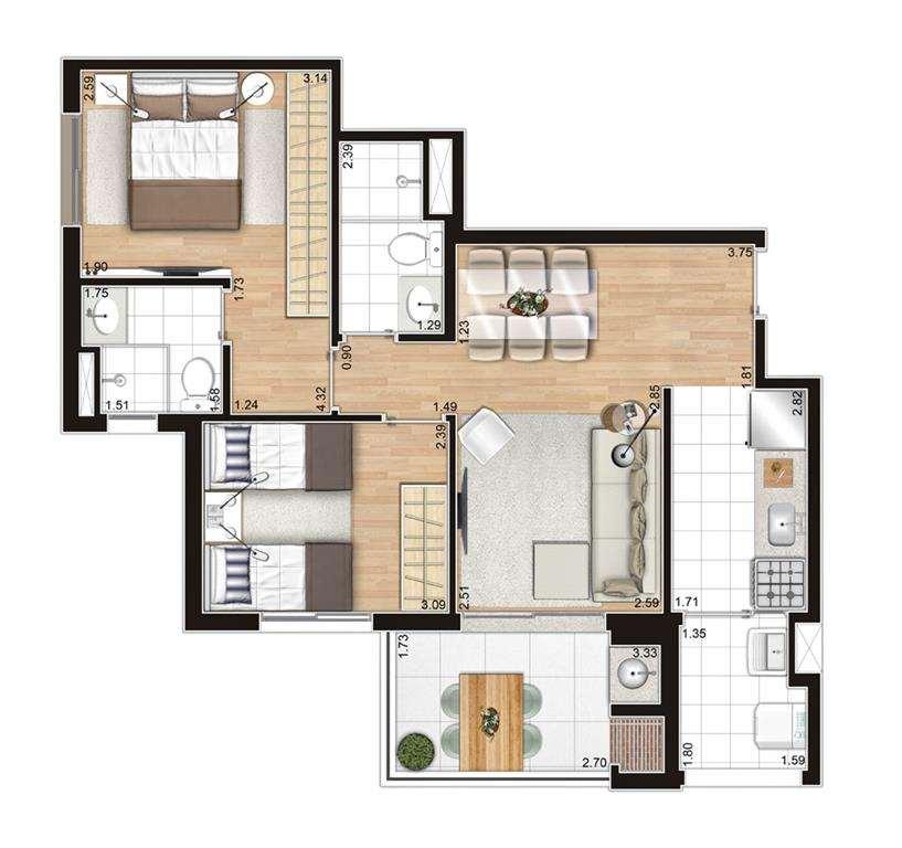 | Planta - 2 Dormitórios