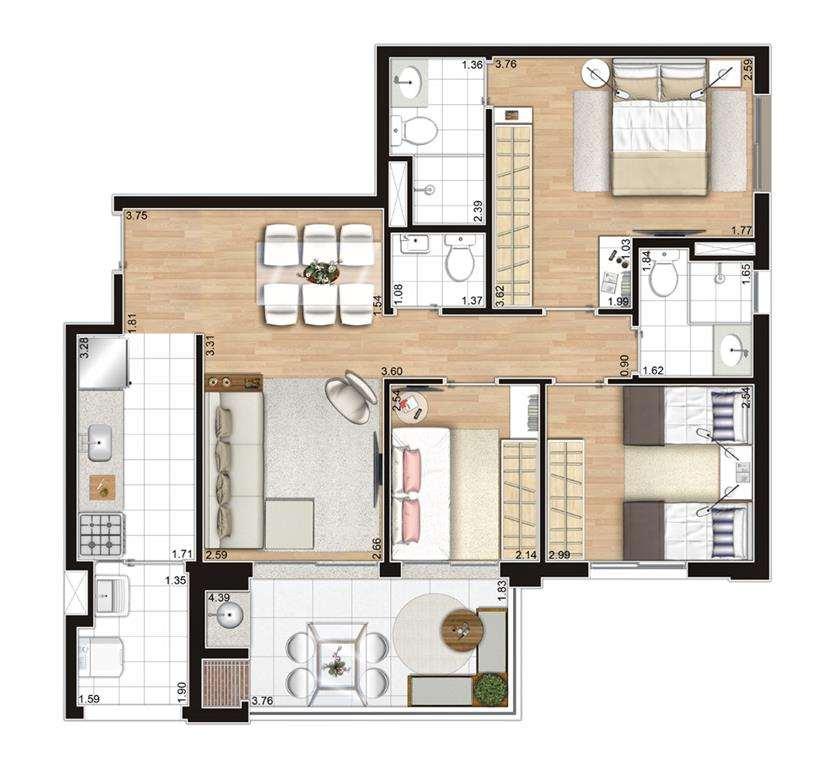 | Planta - 3 Dormitórios