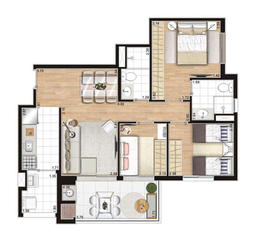 | Planta - 3 Dormitórios II