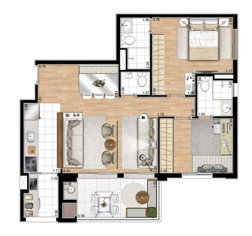 | Planta - 3 Dormitórios Ampliado