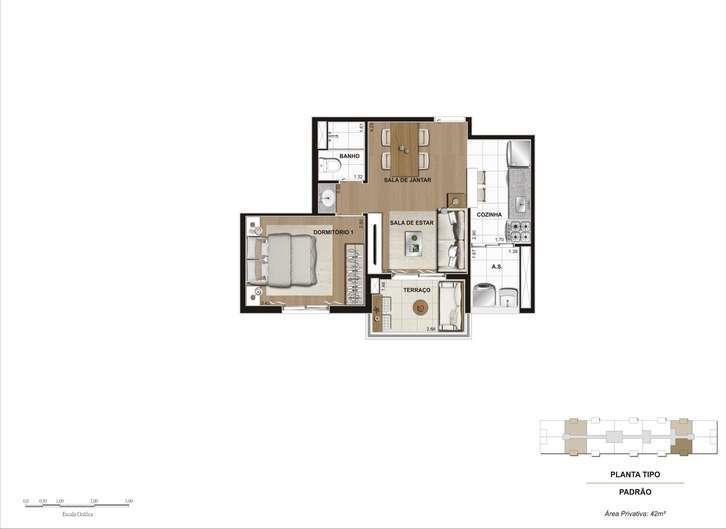 Hi Guacá | Planta 41 m² - 1 Dormitório