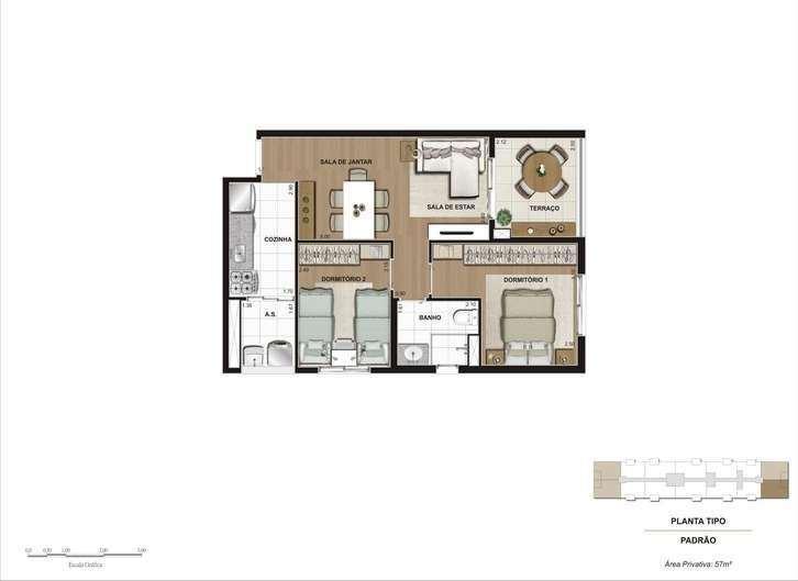 Hi Guacá | Planta 56 m² - 2 Dormitórios