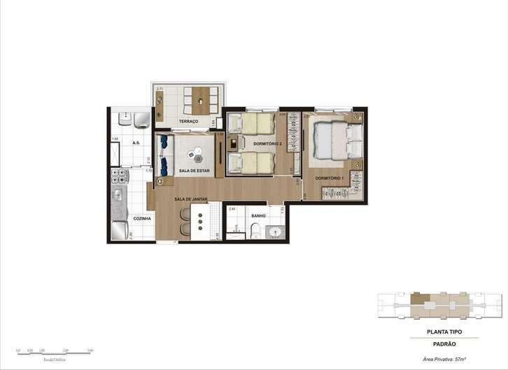 Hi Guacá | Planta 57 m² - 2 Dormitórios