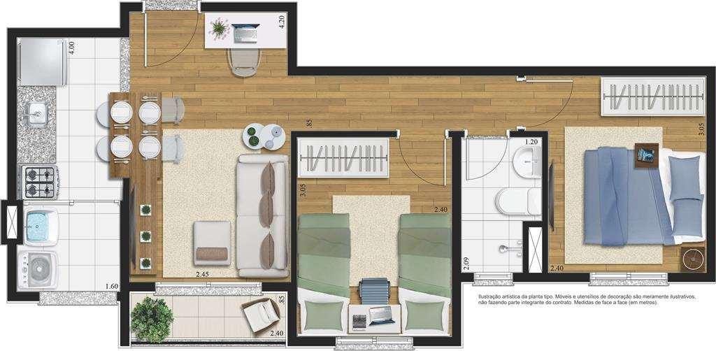   2 Dormitórios Vivere