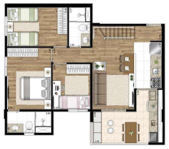 | Duplex 72m² Inferior
