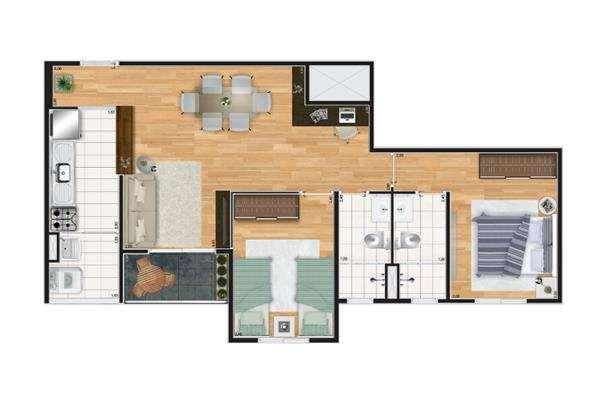 Verdi Spazio | Planta 64 m² - 2 Dormitórios