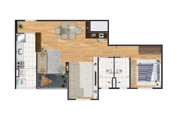Verdi Spazio | Planta 64 m² - Living Ampliado