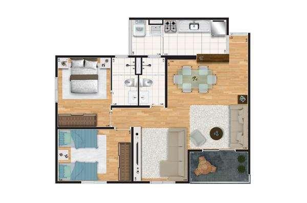Verdi Spazio | Planta 69 m² - Living Ampliado