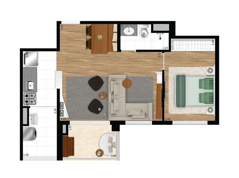 Quadra Vila Mascote | 1 Dorm. Ampliado