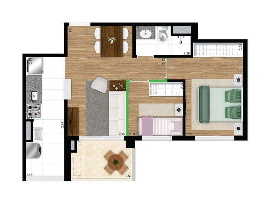 Quadra Vila Mascote | 2 Dorms.