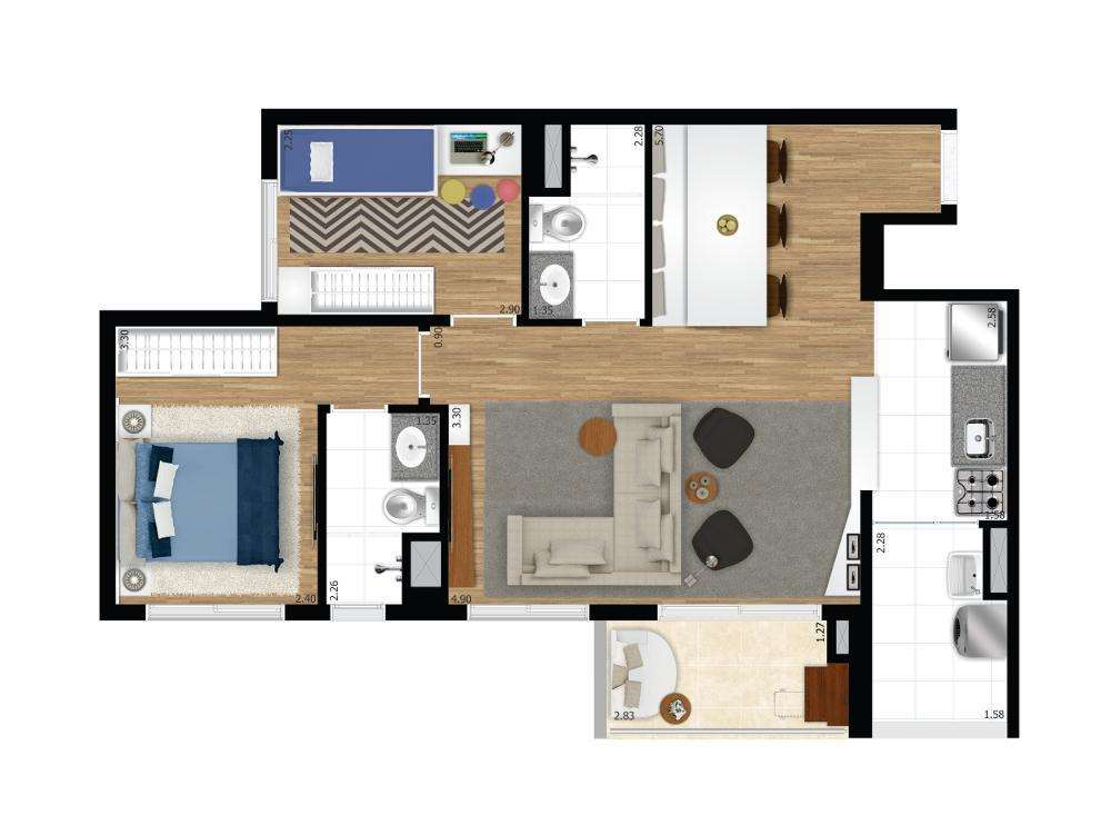 Quadra Vila Mascote | 2 Dorms. Ampliado