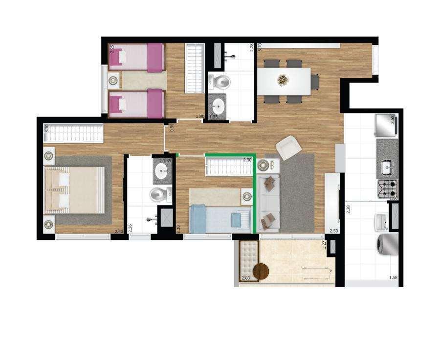 Quadra Vila Mascote | 3 Dorms.